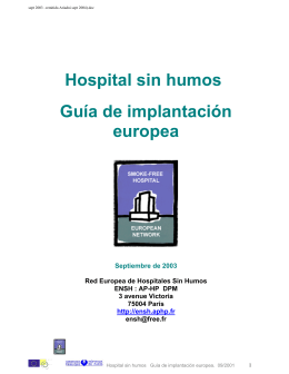 Hospital sin humos Guía de implantación europea