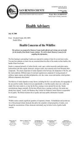 Wildfires Health Alert 2008 - San Benito County Health & Human