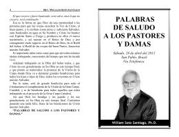 PALABRAS DE SALUDO A LOS PASTORES Y DAMAS
