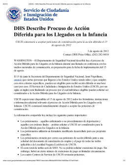 DHS Describe Procuso de Acción Diferida para