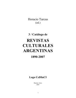 Catálogo de revistas culturales argentinas