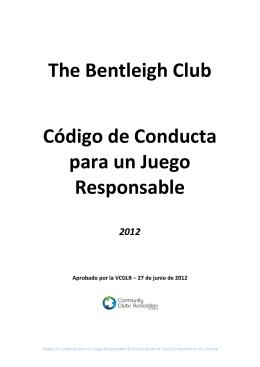 The Bentleigh Club Código de Conducta para un Juego Responsable