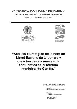 """""""Análisis estratégico de la Font de Lloret-Barranc de"""