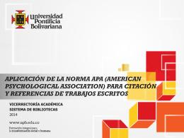 APLICACIÓN DE LA NORMA APA (AMERICAN
