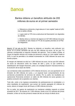 Bankia obtiene un beneficio atribuido de 205 millones de euros en