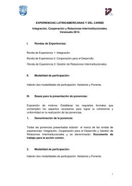 EXPERIENCIAS LATINOAMERICANAS Y DEL CARIBE Integración