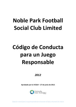 Noble Park Football Social Club Limited Código de Conducta para