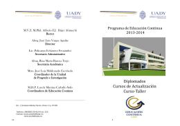 Diplomados Cursos de Actualización Curso‐Taller