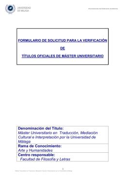 Máster Universitario en Traducción, Mediación Cultural e