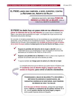 Campaña PSOE contra la reforma del aborto.