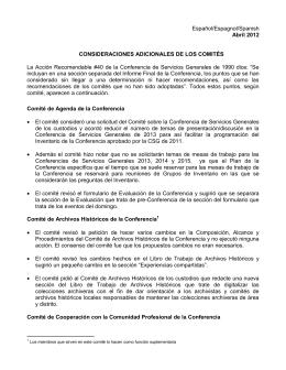 Español/Espagnol/Spanish Abril 2012 CONSIDERACIONES
