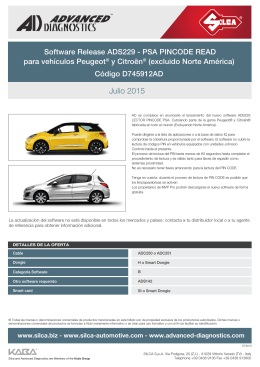 Release ADS229 - PSA Pincode Read for Peugeot® and Citröen