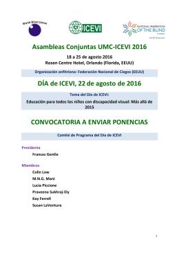 Asambleas Conjuntas UMC-ICEVI 2016 DÍA de ICEVI, 22de