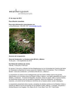 21 de mayo de 2012 Para difusión inmediata Para más información