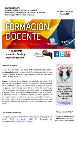 """""""Rendimiento académico, familia y equidad de género"""""""