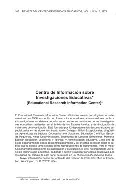Centro de Información sobre Investigaciones Educativas*