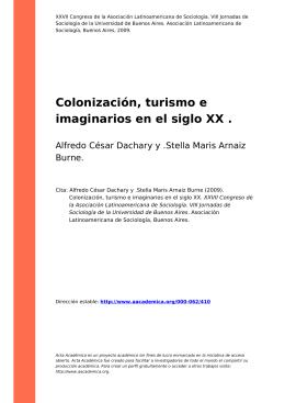 Colonización, turismo e imaginarios en el siglo XX