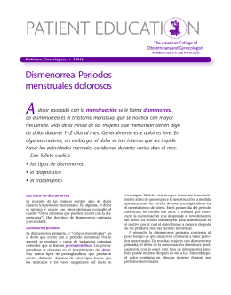 Patient Education Pamphlet, SP046, Dismenorrea