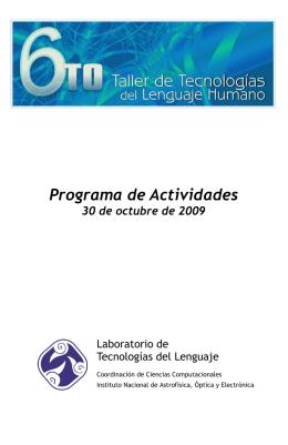 Programa de Actividades - Ciencias Computacionales