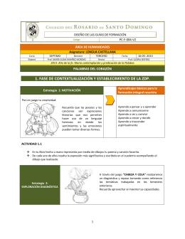 1. fase de contextualización y establecimiento de la zdp.