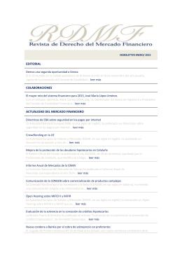 NEWSLETTER Enero 2015 - Revista de Derecho del Mercado