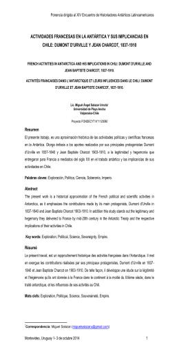actividades francesas en la antártica y sus implicancias en chile