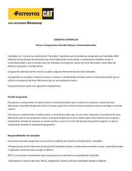 GARANTIA CATERPILLAR Piezas o Componentes
