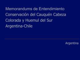 Memorandums de Entendimiento Conservación del Cauquén