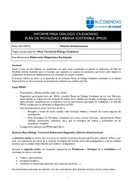 Informe Mesa Diálogo PMUS. Distrito Urbanizaciones