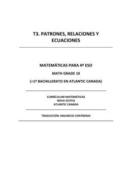 T3. PATRONES, RELACIONES Y ECUACIONES