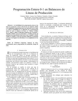 Programación Entera 0-1 en Balanceos de Líneas de Producción