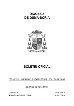 Boletín oficial noviembre-diciembre 2010 - Diócesis de Osma