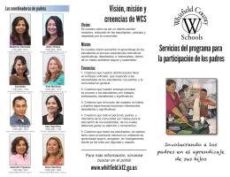 Visión, misión y creencias de WCS Servicios del programa para la