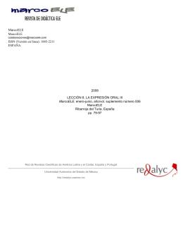 Redalyc. Lección 8. La expresión oral III. MarcoELE