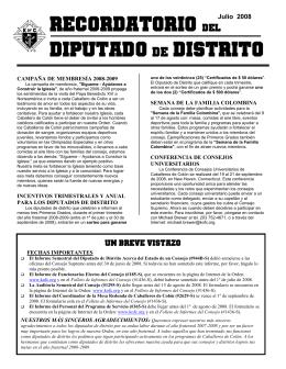 ReCORDATORIO del DIPUTADO DE DISTRITO
