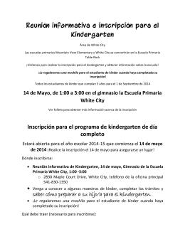 Reunión informativa e inscripción para el Kindergarten