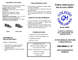 Folleto Informativo Año Lectivo 2014 PRE MEDIA 1º