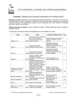 Inventario - Sociedad Guatemalteca de Ornitología