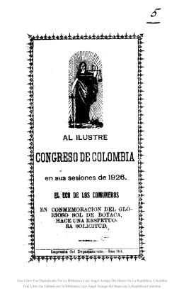 Al ilustre Congreso de Colombia en sus sesiones de 1926 : en
