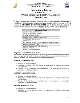 Convocatoria Interna Primer Circuito Judicial Pérez