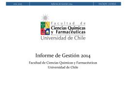 Informe de Gestión 2014 - Facultad de Ciencias Químicas y
