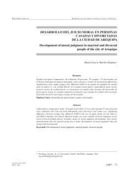 Desarrollo Del juicio moral en personas casaDas y