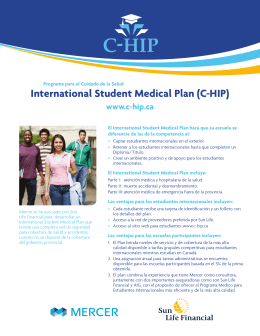 International Student Medical Plan (C-HIP)