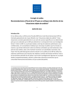 Corregir el rumbo: Recomendaciones al fiscal de la CPI para un