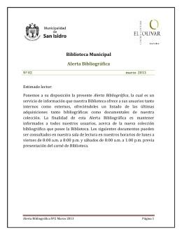 Biblioteca Municipal Alerta Bibliográfica