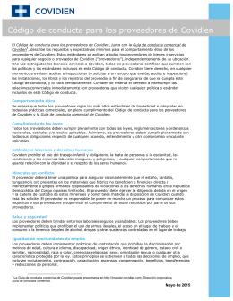 Código de conducta para los proveedores de Covidien