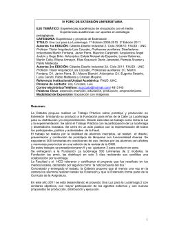 IV FORO DE EXTENSIÓN UNIVERSITARIA EJE TEMÁTICO