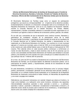 Informe del Movimiento Bolivariano de familias de Venezuela para