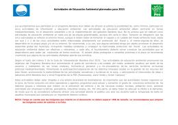 Actividades de Educación Ambiental planeadas para 2015