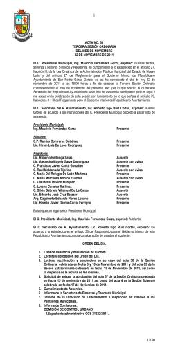 ACTA NO. 58 TERCERA SESIÓN ORDINARIA DEL MES DE